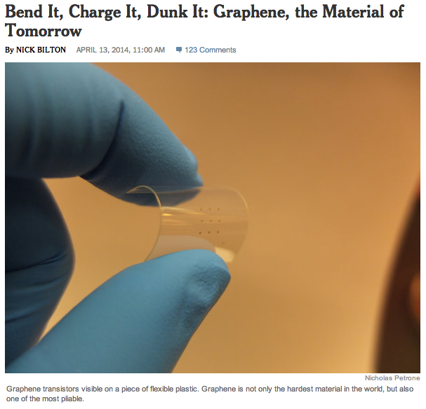 CREDIT: http://bits.blogs.nytimes.com/2014/04/13/bend-it-charge-it-dunk-it-graphene-the-material-of-tomorrow/?_php=true&_type=blogs&_php=true&_type=blogs&_php=true&_type=blogs&ref=technology&_r=2&